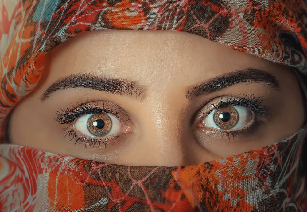 Eyes and the eyebrows of a pretty woman